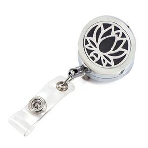 Silver Lotus Aromatherapy Locket Metal Retractable Badge Reel Key 30MM ID Card Clip Ring Lanyard Name Tag Card Holder Free Pads