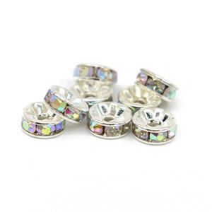 Все размеры Rondelle Spacer бисер серебряный тон Кристалл AB чешский Кристалл для изготовления ювелирных изделий, 100 шт. / пакет, IA001-05