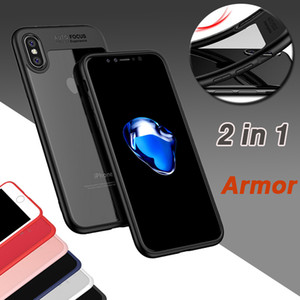 2 in 1 Case Armor Anti-Fall Protection Ultra sottile trasparente Design trasparente antiurto Hard PC + Custodia TPU per iPhone XS Max XR X 8 7 6 6S Plus