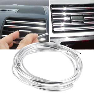 U-4M 4m x 8mm U Shape DIY Car Interior Air Vent Grille Switch Rim Trim Outlet Decoration Strip Moulding Chrome Silver