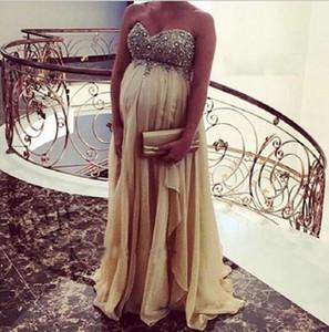 Vestido de noche de maternidad más el tamaño fuera del hombro Chiffon Crystal Prom Party Gowns Vestido de mujer Empire Embarazada