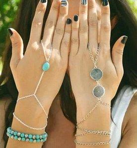 Atacado-celebridade vários cadeia Mão Slave Boho Turquoise Bead Tassel Bracelet Bangle Slave Dedo Set Mão Harness Moda