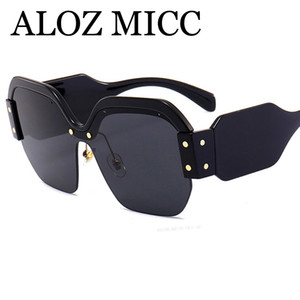 ALOZ MICC Moda mujer Diseñador de la Marca Popular Fashion Square Big Half Frame gafas de sol 2018 Hombres Hot Big Frame fashionSunglasses UV400 A379
