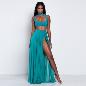 Women Hollow Dress Long Crop Summer And Piece Set Sexy 2021 Maxi Top Dress Skirts 2 Piece Suit Two Set Out Chiffon Whdue