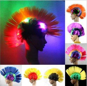Halloween LED blinkt Perücken Party Cosplay leuchten Punk Perücke blinkt Fußball Fan Perücken LED leuchten constume Haarteil Haar Perücke