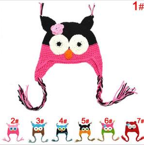 Warm Toddler Owl Ear Flap Crochet Hat infantil hecho a mano de ganchillo OWL Beanie Hat lindo bebé OWL Beanie Kids Hand Knitted Sombreros