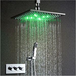 "Thermostat-Hahn-Dusche 10"" Set LED Duschkopf Angetrieben durch Wasser-Regen-Dusche-Hahn-Saving Water Wall Mounted Box Chrome"