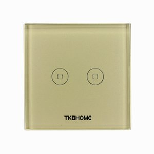 2 Gang Gold color Glass Touch Screen Switch Z-Wave touch screen switch TC1021 control two loads separately