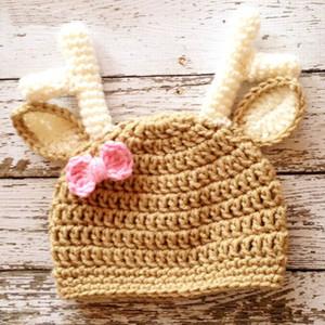 Cappello lavorato a maglia lavorato a maglia all'uncinetto Baby Girl Boy Reindeer, cappello di Santa Moose, cappuccio animale, cappello di Natale infantile, neonato foto
