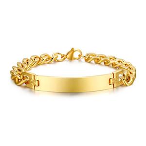 Frete grátis unisex hot moda banhado a ouro 316 pulseira de aço inoxidável com id tag para gravura
