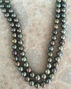 Hot-Doppelstränge 9-10mm echte Südsee-Schwarz-Grün-Perlen-Halskette 18-19 Zoll 14K Gold Schließe
