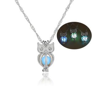 2017 Glow In The Dark Eule halskette hohlen perle käfige anhänger leuchtenden tier charme halsketten für womenLadies Luxus Modeschmuck