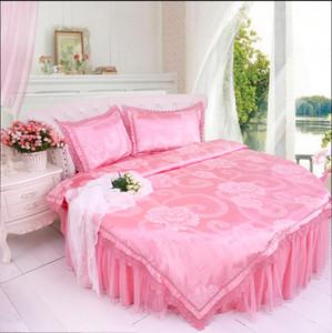 Кружева сиреневый цвет круглая кровать хлопок постельные принадлежности 4 шт. наборы сладкий главная кружева JAQUARD атласная отель пододеяльник набор круглая кровать 2.0-2.5 м постельные принадлежности