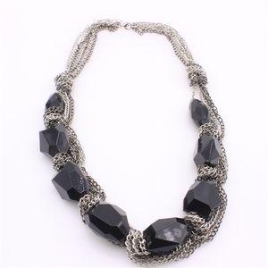 Nuevo collar boho collares declaración chunky cadena vintage negro de piedras preciosas rhinestone babero choker collar para las mujeres pf2