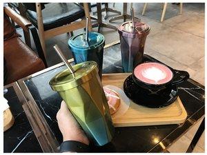 500 ml Tubo de Copo Irregular Losango Canetas de Café Duplo Copo de Palha De Aço Inoxidável Canecas Engraçadas para o Presente Personalizar Copo de Café 77