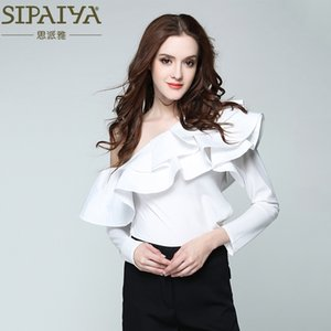 SIPAIYA Une Épaule À Volants Blouse Shirt Femmes Tops 2017 D'été Casual Chemise Blanche À Manches Longues Cool Blouse D'été Blusas