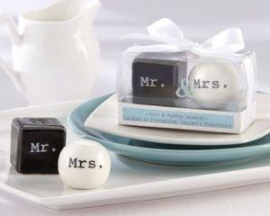 Cubo Cilindro De Cerâmica Sr. Sra Sal e Pimenta Shakers Branco Preto Shaker Cozinha Ferramentas de Festa Favorece Favor Do Casamento 10 jogos (2 pçs / set)