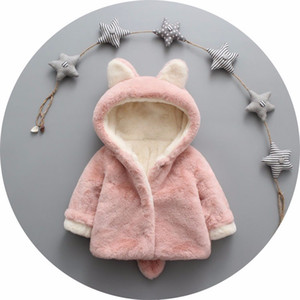 Children faux fur coat winter new baby girls cute ear hooded Faux fur coat kids fleece thicken outwear children cartoon coat A0158