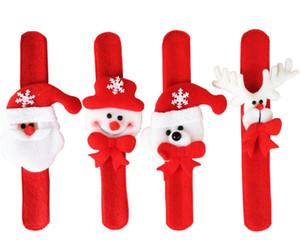 Рождественский орнамент Рождество Пощечина браслет Браслет Рождество ПЭТ круг кольцо для рук Санта-Клаус снеговик медведь олень браслет Рождественский подарок игрушка
