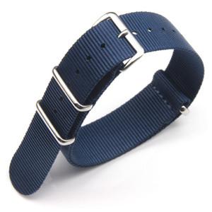 Timex İzlemek İçin Mavi Haki Krem Siyah Kırmızı Güzel Kalite Naylon Nato Kayış Watch Band 3-Ring 18mm 20mm 22mm 10pcs / Lot