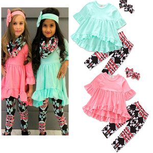 INS Baby Girls Irregular Solid Dress+Plaid Long Pants+Bow Headband Sets Toddler Printed 3pcs Bubble Skirts Outfits