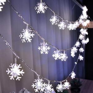 Свет Снежинка гирлянды 2M 3M 5M 10M 100LED Рождество светодиодных Фея Строки для сада венчания партии Рождественской елки огни