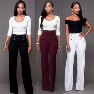 2017 vita alta gamba larga Boot Cut Pantaloni Moda donne bianco elegante ufficio pantaloni lunghi