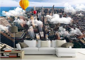 3d stereoskopik duvar kağıdı Lofty towering city havadan görünümü TV zemin duvar kağıdı