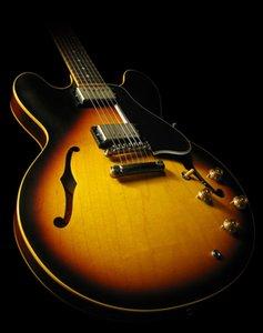Custom Shop 50e anniversaire 58 Vintage Sunburst CS Hollow Body Jazz guitare électrique pickguard noir Double ouïes bloc perle inlays.