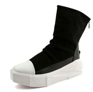 Neue Owen Männer 8 cm Höhe Zunehmende Plattform Stiefel Zurück Zip Lederschuhe Männlichen Mischfarben Y3 High Top Schwarz Weiß herren casual Stiefel