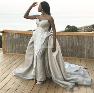섹시한 숄더 웨딩 드레스 분리 가능한 스커트와 함께 오랫동안 Sheath Satiin 아플리케 아랍어 신부 가운 Country Garden Women Dress