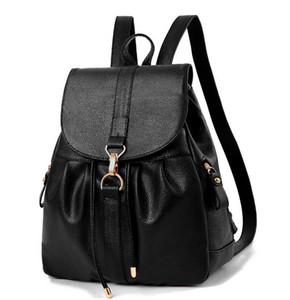 Business Casual Metallhaken PU Leder Rucksack Womens Designer Rucksäcke schwarz Rucksack Rucksack Handtaschen für Mädchen