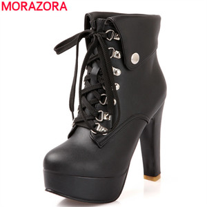 Wholesale-MORAZORA 2016 new fashion lace up women ankle boots high heels black brown motorcycle boots platform shoes woman