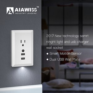 AIAWISS LED Night Light with Automatic Dusk to Dawn Sensor and 5V 2.4A Dual USB Wall Outlets Charger,Wall Socket Adapter Plug White Black