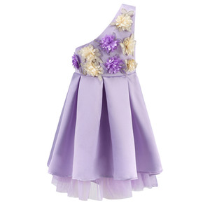 New styple Girl Wedding Party Dresses Obblique Shoulder Girl Baptism Wedding Princess Dress with 3D Flower