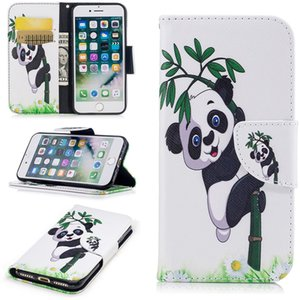 New Flip Wallet Case For iphone7 7Plus 3D Painted cute panda butterfly Leather cartoon cover for iphone6s 6splus 5s SE free shipping