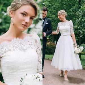 Demi-manches Illusion Bateau Bow Sash Country Garden Robes de mariée Fait sur mesure Dentelle élégante de thé longueur Robes de mariée