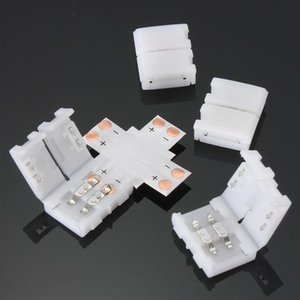 뜨거운 판매 8mm 2Pin x L T 모양 어댑터 PCB 5050 단일 색 LED 스트립 빛 커넥터 솔더レス에 대 한