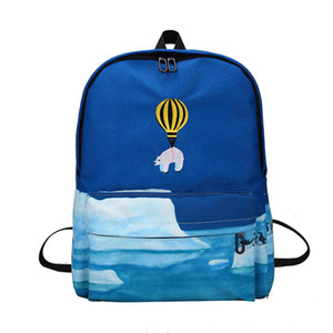 2017 Autumn Fresh Cartoon Bear Animal Hot air balloon embroidered Casual School Bags Female Canvas Backpack Zipper Bags