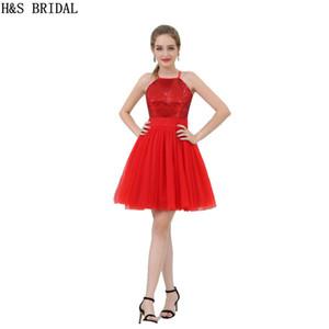 Barato vestido de dama de honor de lentejuelas rojas 2017 corto halter Shinny niñas vestidos de fiesta venta al por mayor vestidos de baile B053