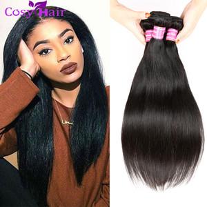 Remy Extensions de Cheveux Humains 4 Bundles Malaisienne Vierge Cheveux Raides Bundles Naturel Cheveux Noirs Weave Styles 8-26 Pouces Mixte Longueur