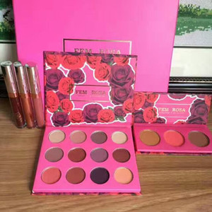 Dropshipping Envío gratis NUEVO ColourPop Fem Rosa Set 12 color de sombra de ojos +3 color Highlighter + Mate lápiz labial