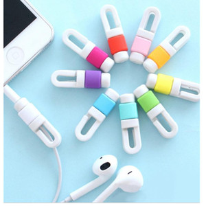 Different Styles Silicone Earphone Cable Cover Portable Usb Cable Protector With Colorful For Iphone , Cell Phong