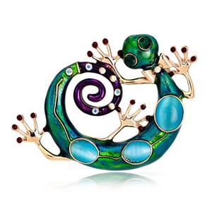 Büyük Mavi Emaye Esmaltes Kertenkele Gecko Broş Kadın Kızlar Corsages Yeşil Broş Diamante Bezemeler Kihen Düğün Bijoux 170737