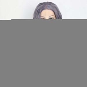 100% nuevo a estrenar Imagen de moda de alta calidad pelucas llenas del cordón del color gris rizado largo sin cola sintética del frente del cordón peluca del partido