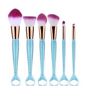 6 Pçs / set Colorido Escalas Padrão Pincéis de Maquiagem Set Beleza Cosméticos sereia Escova Eyeshadow Lip Pinceis Pinceis Ferramentas Kabuki Kits de Escova