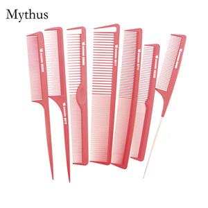7Pcs / Lot Красный Профессиональный салон резки Comb углеродного волокна волос Cut Comb наборы Парикмахерское Styling Tail Comb VS-7