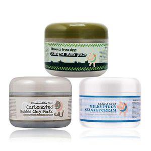 Elizavecca Milky Piggy Bubble Clay Mask / Green Piggy Collagen Jella Pack Pig Mask / Молочная поросенка с морской солью