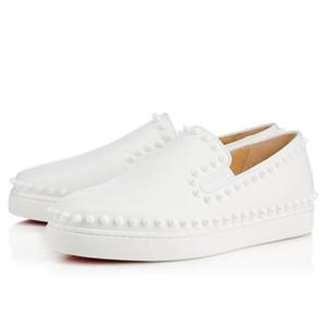 Lüks Marka Spikes Flats Kırmızı Alt Loafer'lar Ayakkabı Sneaker Erkek Kadın Moccasin Ayakkabı Akşam Parti Elbise Yürüyüş Tekne Ayakkabı 36-46