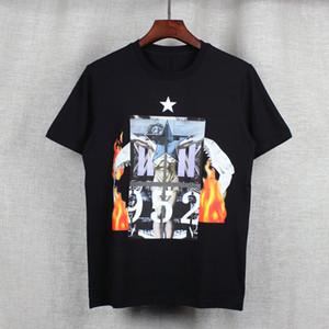 2017 moda Mens T-shirt Dos Homens Camisa Ocasional tshirt Tee Tops Mens flama pessoas em todo o céu formação de estrelas de jasmim Jesus três cervos tubarão